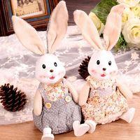Creative gifts Resin cloth crafts village couple rabbit ornaments home decorations 2pcs/set