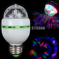 Mini RGB E27 Crystal Rotating magic ball stage light effect RGB LED Lamp Lamps bulb for party Disco DJ Lighting, Free Shipping
