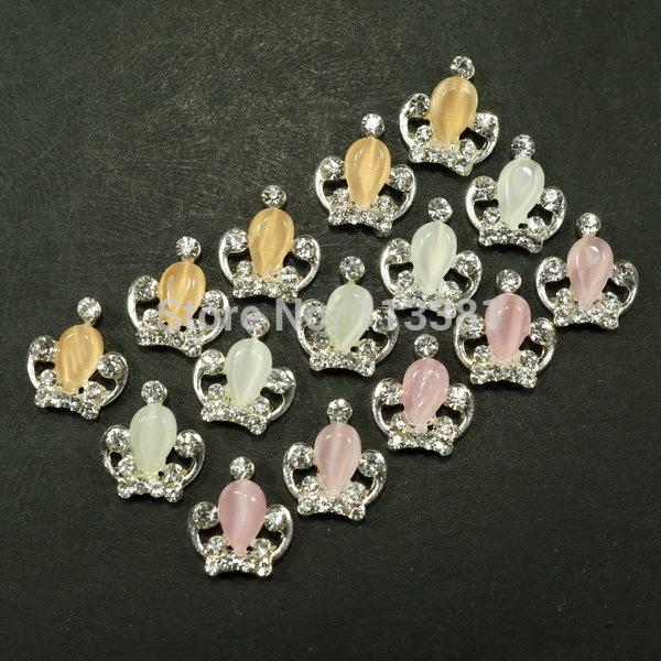 30PCS/LOT Mix 3 Colors Pink Light Orange White Cat Eye Beads Rhinestones Acrylic Nail Art Craft DIY Design Decorations Crown(China (Mainland))