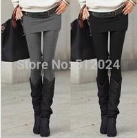 10pcs/lot Hot Selling Grey Black False Two-piece Legging Pantskirt Women's Fashion Leggings With Mini Skirts Slim Fit