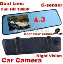 2014 Новый двойной объектив Автомобильный видеорегистратор зеркало заднего вида 720P 30fps 4,3 «ЖК-дисплей с ночного G-сенсор Vision + водонепроницаемый наружных зеркал заднего объектива + H.264