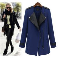 Fashion PU Leather winter casacos Casual jacket  jacket Contrast Trims Oblique Zipper Coat  plus size Black/blue