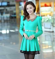 2014 New In Fashion Women's Dresses Autumn Sweet Doll Collar Slim Long-Sleeve Female Dress