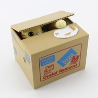 Yellow New Itazura Automated Steal Stealing Money Cat Coin Money Saving Box Bank
