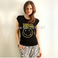 Funny Nirvana t shirt Rock Music tshirt Womens Cotton tee shirt Free Shipping