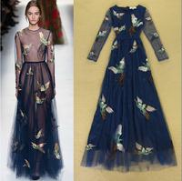 Top Grade New High Fashion 2014 Autumn Women Evening Dress Long Sleeve Phoenix Embroidery Special Occasion Dress Prom Dress