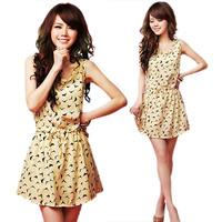 New Korean Women Girl Summer Dress Chiffon Birds Print Drawstring Vest Dress Free Shipping and Drop Shipping