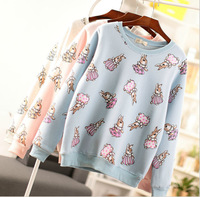 [Alice] free shipping 2014 Autumn and winter new style women cotton hoodies Lovely rabbit fleece warm sweatshirts 3color 812E