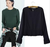 2014 New Women Ladies Chic Ruffles Hem Long Sleeve Chiffon Blouse Shirt  ZA Brand Brief Slim O-Neck Pleated Blusas Camisas A875