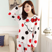 Cotton Cartoon Pajama Sets Long Sleeve + Pant Sleepwear Casual Nightgown Pijama M L XL