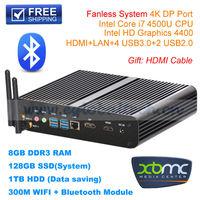 DHL Free Eglobal Fanless Mini PC HTPC Computer XBMC with Core i7 8GB RAM 128GB SSD 1TB HDD IR+WIFI+Bluetooth+Remote Control