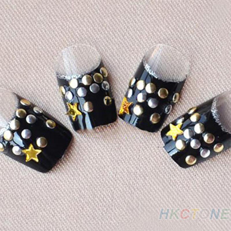 300Pcs Punk Rivet Style Fingernail Tips Golden Silver Metal Nail Art Tips Fashion Metallic Studs Stickers(China (Mainland))