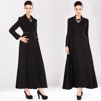 Hot Selling High Quality Women's Woolen Blends Coat Slim Lotus Leaf Expansion Bottom Designer Outerwear With Belt 9902#