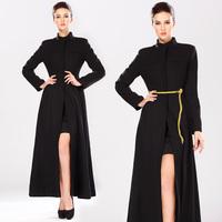 New Vintage Women Wool Blends Coat Personalized Elegant Plus Size Fashion Slim Woolen Overcoat Long-sleeve Stand Collar 9901#