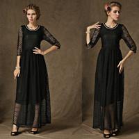 2015 European and American Autumn Dress Lace Black Ruffle Hem Beading Diamonds Half-sleeve Women Party One-piece Dresses 58025