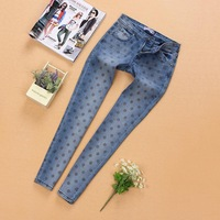 New European Style Original Dots Kids Jeans Spring Autumn Winter Girls Denim Pants Children Baby Girls Skinny Jeans Trousers