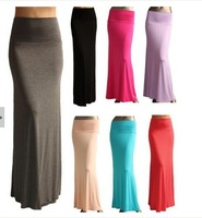 2014 New Fashion Brand Spring Autumn UK Plus Size Candy Color Fold Over Waist Banded Minimalist Jersey Long Maxi Women Skirt