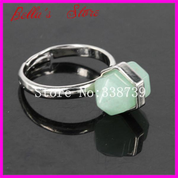10PCS Healing Crystal Nugget Terminated Adjustable Ring Antique plated Druzy Quartz / Agate / Green Aventurine Gem Stone Rings(China (Mainland))