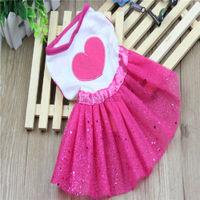 Cute Pet Dress Small Dogs Cats Shining Heart Print Lace Tutu Wedding Dress Princess Skirt Gauze Skirt Loving Pets HW239