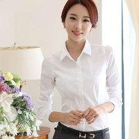 2014 New White Shirt Women Cardigan Work Wear Long Sleeve Tops Slim Women's Blouses & Shirts S M L XL XXLPlus blusas femininas