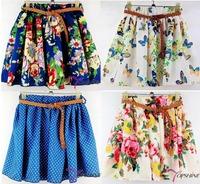 2014 summer autumn Hot Sale Fashion New Women Ladies saias femininas Pleated Floral Chiffon Short Mini Skirt no belt WTP0116-3
