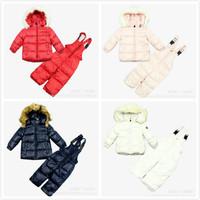 2014 New Children's Winter Clothing Set Kids Ski Suit Windproof Zipper Warm Coats Fur Down Jackets+Bib Pants Kids sports suit