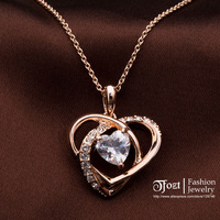 TFOZT ! 18K Real Gold Plated Stellux Austrian Crystals Pendant Necklace Princess Heart CZ Zircon Necklace Jewelry GSXL 20036