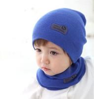 Baby Boy Girl Beanies Kids Warm Caps Hat Wrap Scarf Sets Children Kids Girls Boys Knitting Cap Baby Accessories 2015 New