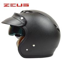 Free shipping!Fashion halley ZEUS MOTO 3/4 helmets retro vintage Leather capacete motorcycle open face helmet M/L/XL/XXL DOT ECE