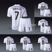 Real madrid 2014 home white soccer jerseys football short Ronaldo James Bale ramos Kroos benzema chicharito kits uniforms socks
