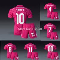 Real madrid 2014 away pink soccer jersey football shorts Ronaldo James Bale ramos Kroos benzema chicharito kits uniforms socks
