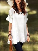 2014 New Fashion Women Girl Linen Crew neck Short Sleeve solid color loose Cute Ruffles Hem T-shirt Blouse Shirt Tops