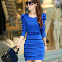 2014 autumn slim hip one-piece dress female puff sleeve spring and autumn slim long-sleeve + free shipping