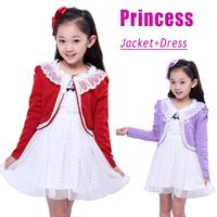 2014 New Product Autumn Children Clothing Sets Kids Jackets + Dress 2Pcs Sets Outfits for Girls Princess Lace Clothes Suits