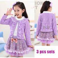 2014 Spring Autumn New Children's Clothing Set Girls Princess Style Floral Lace Coat 3pcs Sets (Cotton Shirt + Jacket + Skirt)