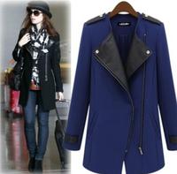 2014 New Winter Fashion Women Casual Black Blue Contrast PU Leather Trims Oblique Zipper Jacket Coat Size S-5XL Free Shipping