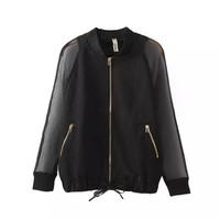 2014 new women fashion cotton blends black color zip pockets standing collar zipper closure bomber jackets 330422