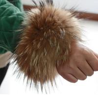 FOXTAIL Wholesale 15cm raccoon fur rings sleeve cuffes winter real fur arm warmer natural colour shoes fur trims