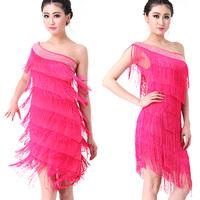 Elegant Women Off Shoulder Tassels Dress Latin Tango Ballroom Salsa Dancewear