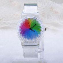 Fashion Fresh Summer Lovely Transparent Case Wristwatch Women Candy Color Quartz Rubber Band Wrist Watch Clock