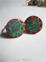 R188  Tibetan Turquoise Mantras Man rings,Tibet brass golden Buddha Eye OM amulet symbols Wholesale Tibet Ring