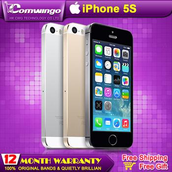 Оригинал завода разблокирована apple , iphone 5s телефонов 16 ГБ / 32 ГБ ROM IOS белый черный GPS GPRS A7 IPS LTE подарком гарантия 1 год