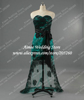 Actual Images Dress Party Evening Elegant To Prom Lace Evening Gown Front Short Long Back Green Black  2014 High Low U290