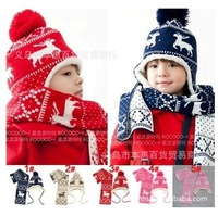 (1Set =1 Hat+ 1 Scarf ) Child Winter Cap scarf set Kids Knitted Cap with Earflap Warm hats Children Baby  Wholesale #0924