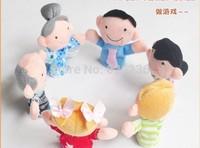 60pcs/lot  Finger Plush Puppet Happy Family Story Telling Dolls Support Children Baby Educational Toys 6pcs/bag Wholesale