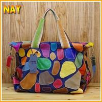 Women Designer Handbag Patchwork Women Purse Genuine Leather + Jean High Fashion Tote Free Shipping K531