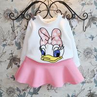 Retail+Free shipping New 2014 Autumn Children girls clothing sets,Cartoon Donald Duck kids clothes sets,Long sleeve shirt+skirt
