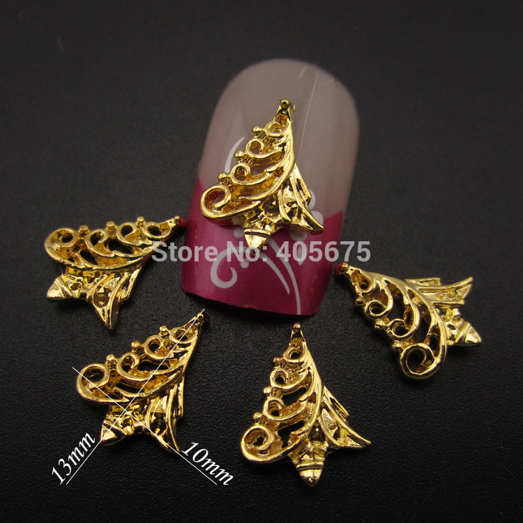 MNS566 Gold 3d metal nail art charms Christmas tree scrapbooking glitter nail supplies 50pcs(China (Mainland))