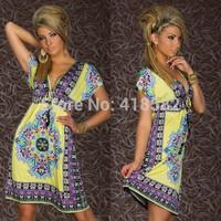 Y050--Free Shipping  Print V Neck Hippie Bohemian Summer Dress Beach dress