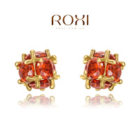 Factory Outlet G&S ROXI Summer Gift Austrian Big Red Crystal Fashion Luxury Ball Stud Earrings Big OFF For Women Party Wedding